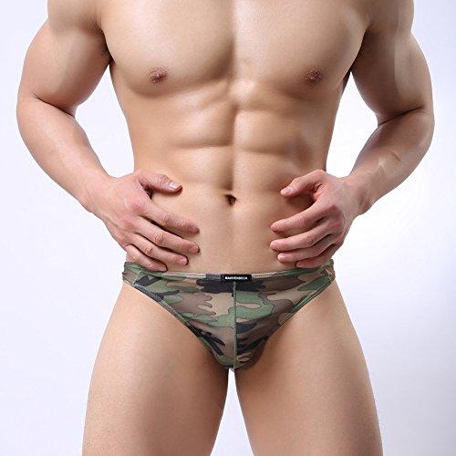GS~LY confortevoli ed esclusive di intimo maschile stampato traspirante a vita bassa perizoma slip mutande t , camouflage , xl  Acquista 2 ottenere 1