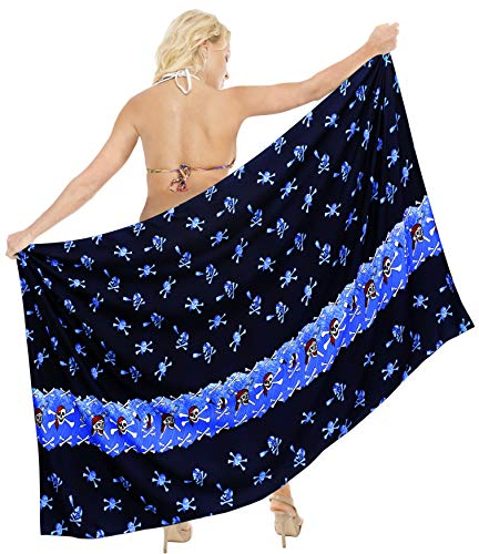 LA LEELA Schädel Kostüm Damen Strand Sarong Pool Bademode Wandbehang Stranddecke Pareo Schwimmen Decken auf Leichtes Wickeltuch 78X39 ()