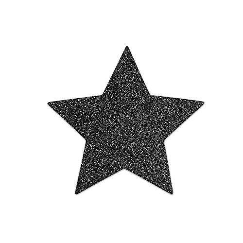 Bijoux Indiscrets Flash Star - glitzernder Brustschmuck in Form eines Sterns, zum Aufkleben, wiederverwendbar, 1x2 Stück, schwarz Naughty Sterne