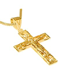 "Lifetime Jewelry Crucifix Necklace, Filigree Cross, 24K Gold Over Bronze (with or Without 20"" Chain)"