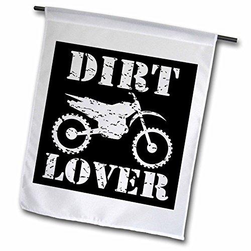 3dRose FL_180550_1 Weißes Bild und Dirt Lover Text mit Distressed Dirt Bike Grafik, Gartenflagge, 30,5 x 45,7 cm