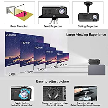 4400 Lumens Video Projector, 1080P Supported Ugpraded LED Projector Home Movie Projector for Indoor/Outdoor with Speakers, Compatible with Fire TV Stick, PS4, HDMI, VGA, AV, USB,RCA
