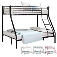UEnjoy 3FT Single 4FT6 Double Metal Bunk Beds Triple Sleeper Beds for Adult and Childrens