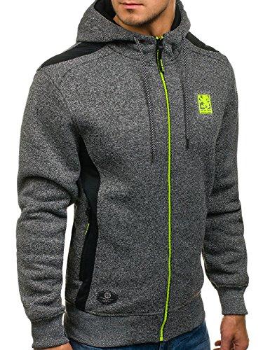 BOLF Felpa – Con cappuccio – A zip – Con patch – Con stemme – Tasche – Stile sportivo – Da uomo 1A1 Grafite