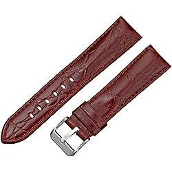Tech Swiss LEA331-20SS 20mm Leather Calfskin Brown Watch Strap