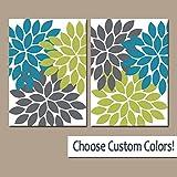 canvas print Wandschmuck Blume auf Leinwand Oder Prints Blaugrün Grün Grau Badezimmer Decor Floral Schlafzimmer Wand Decor Flower Burst Petals-Set von 2Home Decor
