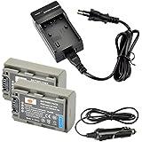 DSTE 2-pack Rechange Batterie et DC04E Voyage Chargeur pour Sony NP-FP50 DCR-30 DCR-DVD103 DCR-DVD105 DCR-DVD105E DCR-DVD202E DCR-DVD203 DCR-DVD203E DCR-DVD205 DCR-DVD205E DCR-DVD304E