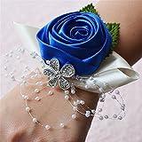 Fouriding Blu Posa Polso Fiore di Mano Corpetto Damigella d'Onore Cinturino a Forma di Fiore per Matrimonio, Party Homecoming, Tessuto, Confezione da 2