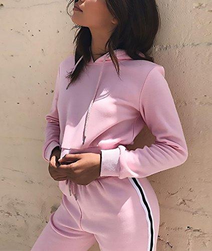 Donna Tuta Da Ginnastica 2 Pezzi Felpa Con Cappuccio+Lungo Pantaloncini Sportiva Crop Top+Pantaloni Eleganti Casuali Autunno Inverno A Strisce Jogging Pullover Rosa
