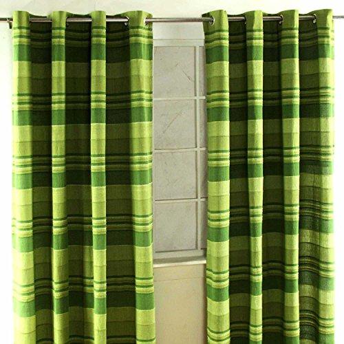 Homescapes 1Paar Marokko Gerippter Vorhänge, gestreift, Grün 100% Baumwolle bereit Made Ring Top, baumwolle, grün, 167 x 228 cm (66