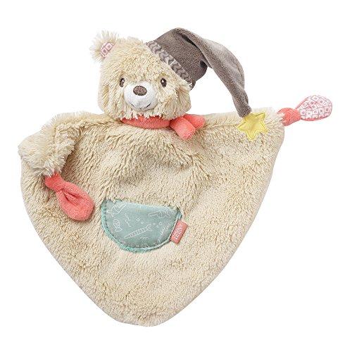 Fehn 060140 Schmusetuch Bär | Schnuffeltuch mit Bär-Köpfchen zum Greifen, Fühlen, Knuddeln und Liebhaben | Für Babys und Kleinkinder ab 0+ Monaten