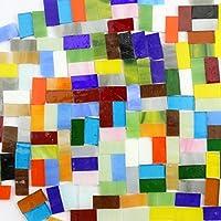 200G (130pcs) decoración Crafts 2cm rectangular cristal color mezclado mosaico azulejos