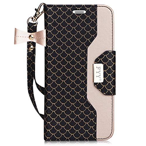 fyy iPhone 6S Plus Tasche, Premium PU Leder Geldbörse Fall mit Kosmetik Spiegel und Schleife Gurt für iPhone 6S Plus/6Plus, Z-Fish Scale-Ink