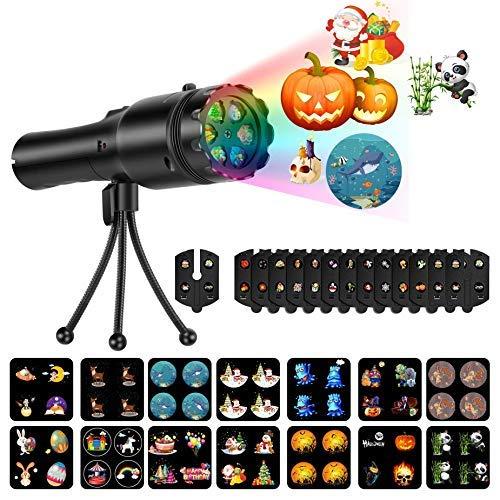 Projektor Taschenlampe Projektionslampe 14 Wechselbaren Musters Animiert Licht für Kinder Schlafzimmer Party Geburtstag Hallowin Weihnachten