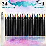 Brush Pen 24 Farben Xpassion Pinselstifte Set Hochwertige Fasermaler für bildschöne Aquarell Watercolor Effekte, Bullet Journal Zubehör und Hand-Lettering/Kalligraphie Zeichnungen