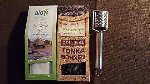 Gourmet Gewürze Mix- Probier- Geschenk Set Lac Rose Salz aus Senegal und ganze Tonka Bohnen aus Brasilien mit Tonka Reibe Feinkost Gewürz Mixbox