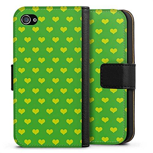 Apple iPhone X Silikon Hülle Case Schutzhülle Herzchen Grün Polka Sideflip Tasche schwarz