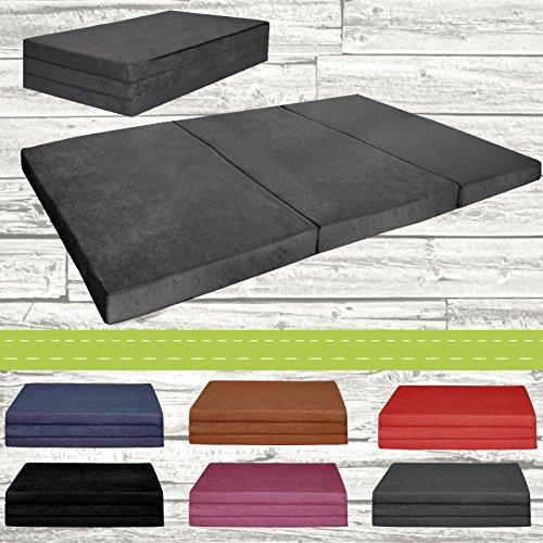 Matelas d'appoint pliant 2 places lit d'appoint lit d'invité futon pouf 195x120x9 cm couleur gris