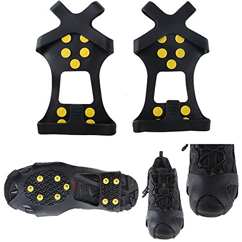 LinTimes 10 Steel Studs Ice Cleats Ice & Snow Grips Over Shoe/Boot Traction Cleat Rubber Spikes Anti Easy Slip On L