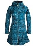 Vishes - Alternative Bekleidung - Warmer Elfen Patchworkmantel aus Baumwolle mit Fleecefutter und Kapuze türkis 40/42