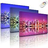 Lightbox-Multicolor | Bild mit LED Hintergrundbeleuchtung | Manhattan Skyline Spiegelung | 100x70 cm | Fully Lighted