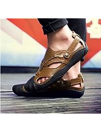 xueyan& Zapatillas de playa de cuero de verano para hombres, khaki, ...