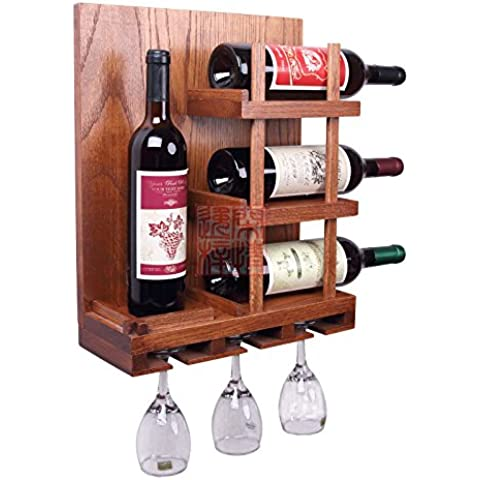 Botellero de pared sólida madera botellero botelleros botellero roble repisa de colgar