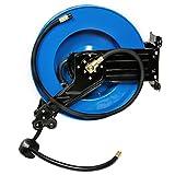 Druckluftschlauch Aufroller mit Federzug für Wandmontage bis 20 Bar 300psi 15m Gummi-PVC Schlauch Ø Innen 10 mm 3/8 Zoll