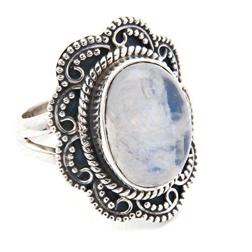 Ring Silber 925 Sterlingsilber Regenbogen Mondstein weiß Stein (MRI 106), Ringgröße:52 mm/Ø 16.6 mm - Antik-ring-set
