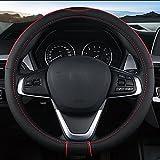 MIAO Couverture de volant de voiture, quatre saisons Universal respirant anti-dérapant résistant à l'usure en cuir Housse de Volant, noir + rouge , 40cm
