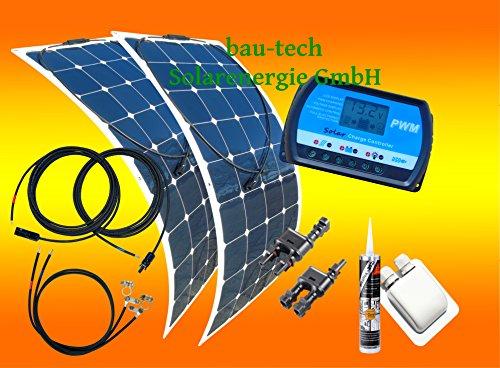 100 Watt Flexi Solaranlage, 2 Stück 50Watt Module flexibel, 12 Volt SET, von bau-tech Solarenergie GmbH