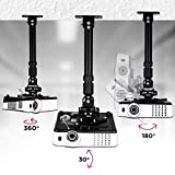 Duronic Projector Mount PB04XL | BLACK Bracket Arm Fixing for Ceiling or Wall | 13.6kg Capacity | Universal | Heavy Duty | Fittings Included | Rotate 360 °, Swivel 180 °, Tilt 180° for Easy Projection Set-up