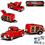 Motormax Ford 1940 Pickup Rot mit Wohnwagen Anhänger Rot 1/24 Modell Auto
