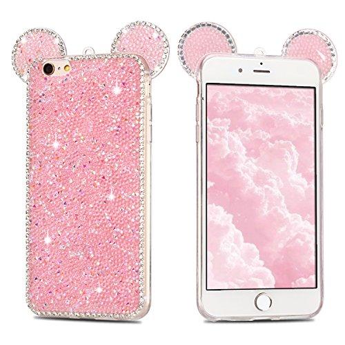 Coque iPhone 6 , Bling Glitter Case Cover iPhone 6S Flexible Souple TPU Etui Mode Dessin Motif 3D Mignonne Charmant Strass Oreilles Diamant Housse Cas Lumineuse Luxe oreille Enveloppe Coque Pour E-Lus Rose
