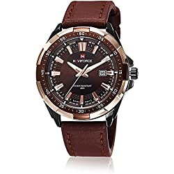 NAVIFORCE New Men Quartz Hour Date Clock Men Casual Sports Watches Men Leather Wrist Military Watch (Gold Brown)