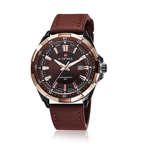 naviforce New Herren Quarz Stunden Datum Uhr Herren Casual Sports Uhren Herren Leder Handgelenk Military Armbanduhr (Gold Braun)