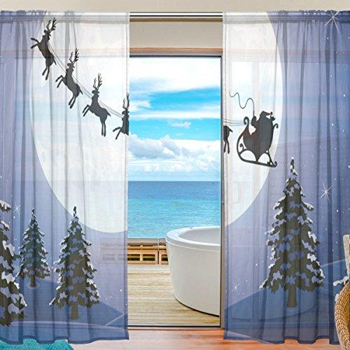 2-teilig: jstel Schneemann und Weihnachtsbaum Muster Print Tüll Polyester Tür Voile Fenster Vorhang Sheer Vorhang Panels für Schlafzimmer Wohnzimmer Fall Zwei scheibenelementen Set 139,7x 198,1cm, Polyester-Mischgewebe, mehrfarbig, 55x78 inch (Stück 2 Band Schiere)