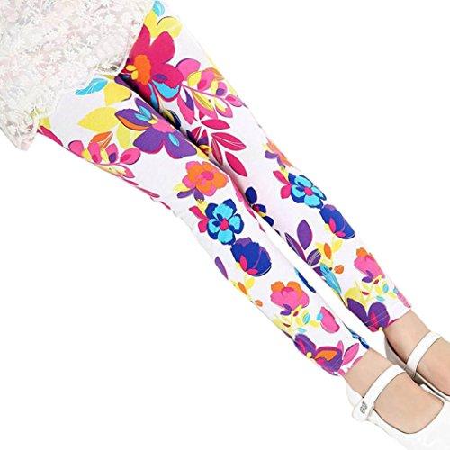 OVERMAL Mädchen Leggings Hosen Mädchen Skinny Blumen Drucken Hosen Stretch Mädchen Slim Bleistift Hosen (12-13 Jahre, Rot # 2) -