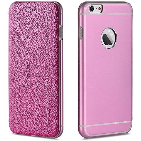 Binli® Custodia - Apple iPhone 6 Plus / 6s Plus Flip Cover Case Bumper Caso in vera pelle - in Pink Rosa - Rosa Magnete Nastro Rosa