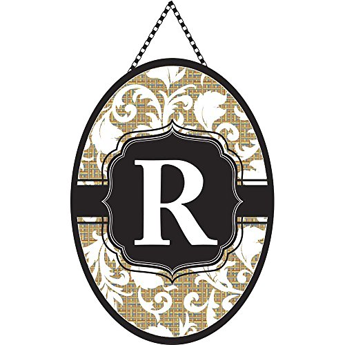 Monogramm Buchstabe R Shield mit Weiß Filigran auf Jute 18x 13Oval Kette Seil Tür Banner