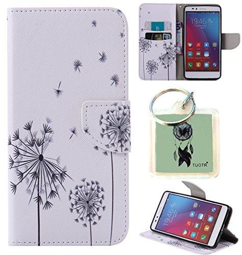 Preisvergleich Produktbild für Huawei Honor 5X PU Wallet Case Schutz Hülle für Huawei Honor 5X - Cover Flip Tasche mit Kartenfach in Buch Stil mit Kartenfach Standfunktion Magnetverschluss und Hand Wrist + Schlüsselanhänger (J1)
