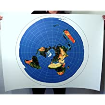 FLAT EARTH MAPS & POSTER PRINTS - AZIMUTHAL EQUIDISTANT PROJECTION - USGS RADAR MAP (40x30inch)