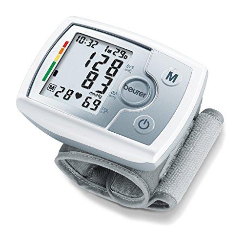 Beurer BC31 Tensiómetro muñeca, para la medición de la presión arterial, pantalla LCD, indicador OMS, detección arritmia, memoria 60 espacios, color plata