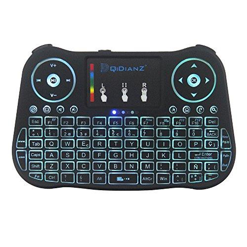 (Noevo 2018)DQiDianZ mini Teclado inalámbrico Teclado retroiluminado con pantalla táctil 2.4GHz en versión española, dispone de 7 cambios de color para TV inteligente, Android TV BOX, PC, caja de juegos, notebook