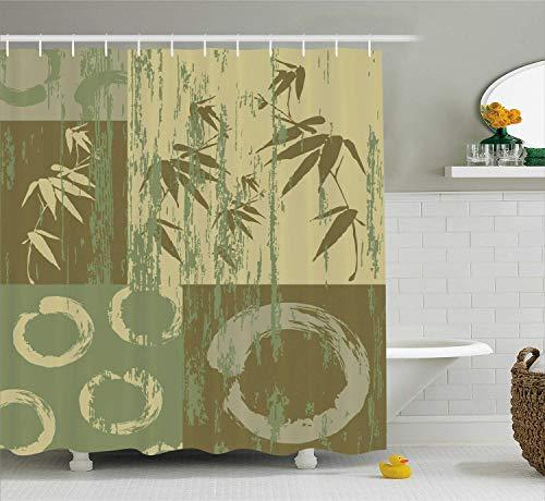 Bambus Haus Dekor Duschvorhang Set Zen Kreis und Bambus Silhouette über Vintage Farbe orientalischen östlichen Patchwork Kunstdruck Bad-Accessoires lang grün