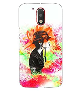 PrintDhaba HAT GIRL D-7041 Back Case Cover for MOTOROLA MOTO G4 PLUS (Multi-Coloured)