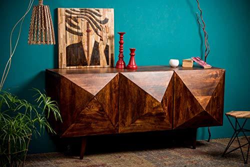Native Home Sideboard 3D, modern, massiv, mit Türen, natürliches Mangoholz, Kommode, HxBxT 85 x 180 x 57 cm, dunkelbraun