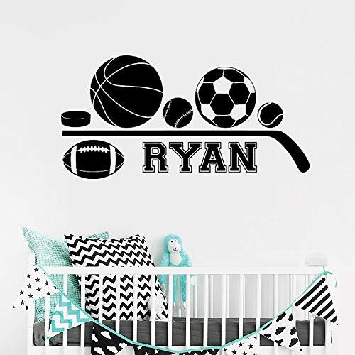 zqyjhkou Name Basketball Fußball Wandaufkleber für Kindergarten Kinder Kinder Jungen Schlafzimmer Spielzimmer Vinyl Aufkleber Home Dekore Kunst 42x82cm