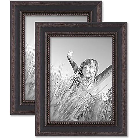 Juego de 2 marcos 15x20 cm marrón oscuro, estilo casa rural, madera maciza con cristal y accesorios / marco de fotos / añejo