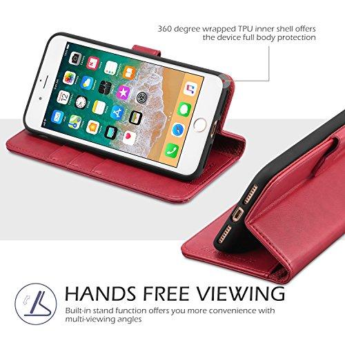 Custodia iPhone 8 Plus, Custodia iPhone 7 Plus, TUCCH Cover in Pelle con Interno TPU Antiurto [GARANZIA DI VITA], Supporto Stand, Carta Fessura e Flip Wallet Case per Apple iPhone 8 Plus/7 Plus - Nero Rosso